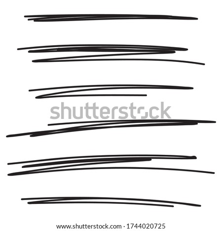 Set of hand drawn black lines. Vector collection of underline, emphasis, scribble brush strokes. Сток-фото ©