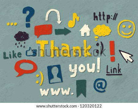 """Set of hand drawn blogging symbols decoration and a """"Thank you"""" text. Vector image."""