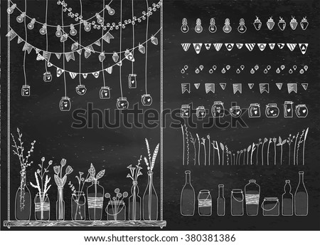 Set of hand drawn borders, garlands, jars, bottles with flowers on swing. Chalkboard background. Doodle lamps, lanterns, flags. Plants, leaves. Used brushes included.