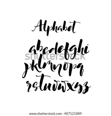 Set of hand drawn brush letters. Modern brush calligraphy. Ink illustration. Hand drawn lettering elements. Signs and symbols.