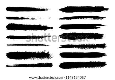 Set of hand drawn brush strokes. Textured Ink paint #1149134087