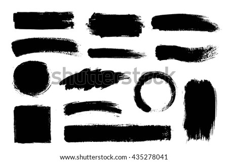 Set of hand drawn brushes and design elements. Artistic creative shapes. Vector illustration. #435278041