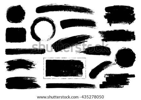 Set of hand drawn brushes and design elements. Artistic creative shapes. Vector illustration. #435278050