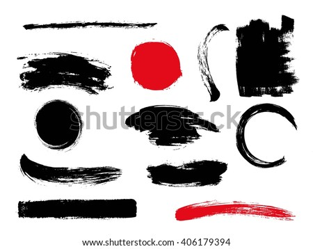 set of hand drawn brushes and