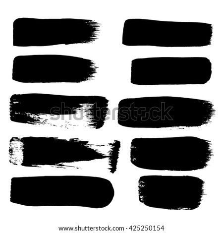 Set of hand drawn brushes and design elements. Set of black paint, ink brush strokes. Grunge brush stroke. Dirty brush stroke. Artistic creative shapes. Vector illustration.