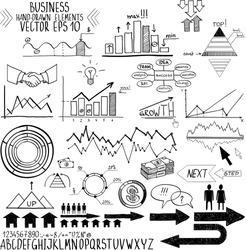 set of hand drawn business finance elements vector illustration. Concept - bank, stats, economy, money