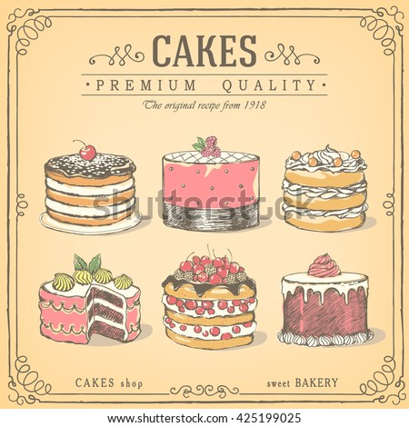 Set of hand-drawn cakes. Bakery sweet shop. Vector icons of cakes. Freehand drawing, sketch