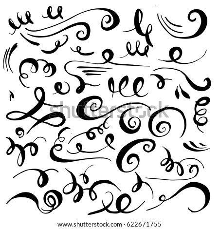 Set of hand drawn calligraphic swashes with brush strokes. Vector decorative elements. Curves, curls, flourishes for text and page design.