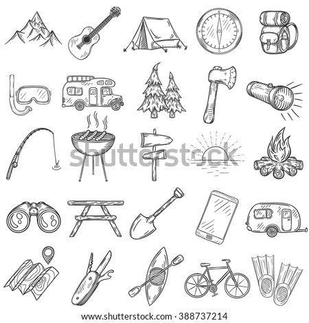 Set of hand drawn camping icons. Vector illustration.