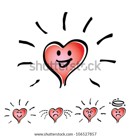 Set of Hand drawn, cartoon heart in mood or emotion happy, smile, sad, indifferent, cheerful and dizzy