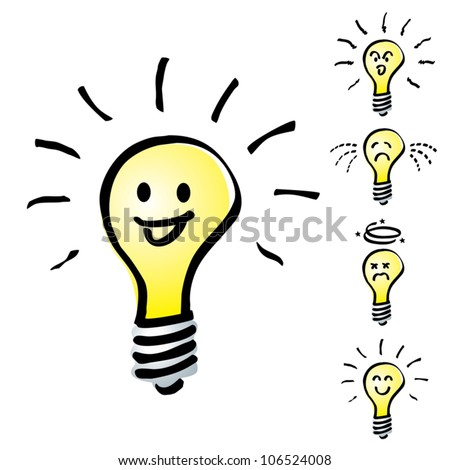 Set of Hand drawn, cartoon light bulbs, Tungsten bulb in mood or emotion happy, smile, sad, indifferent, cheerful and dizzy