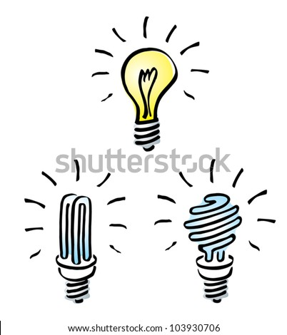 Set of Hand drawn, cartoon light bulbs, Tungsten bulb, orange old generation bulb,  and white energy saving bulb, symbol of ideas