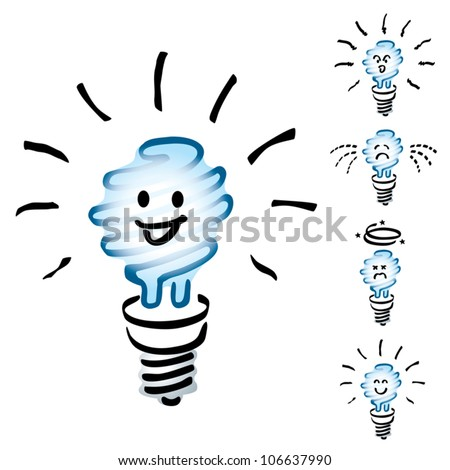 Set of Hand drawn, cartoon light bulbs, white energy saving bulb or Saver Lightbulb in mood or emotion happy, smile, sad, indifferent, cheerful and dizzy