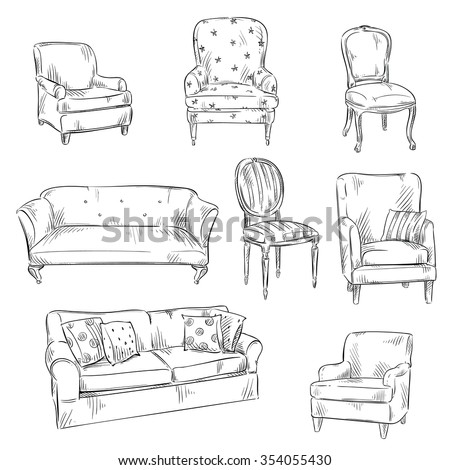 set of hand drawn chairs and