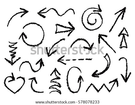 Set of hand drawn charcoal fun black arrows. Hand painting design elements. Vector collection on white background.