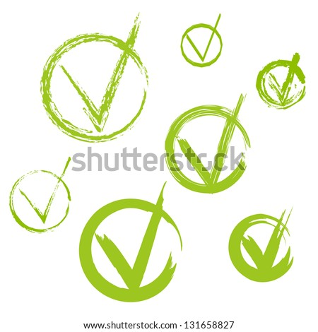 Set of hand-drawn check marks, sketch , watercolor and grunge eco green ckeck marks for your business website, web page