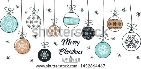 Set of hand drawn christmas baubles. Decoration isolated elements. Doodles and sketches vector illustration Stock photo ©