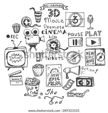set of hand drawn cinema doodles