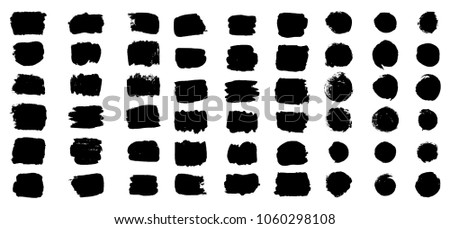 Set of hand drawn circle and rectangular grunge background shapes. Isolated ink spots for logo. Black vector elements drawing with paintbrush.