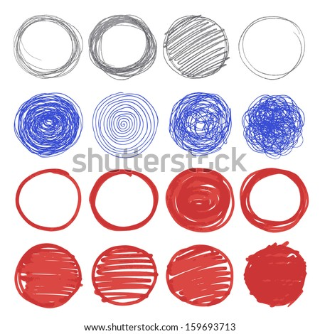 Set of hand drawn circles.