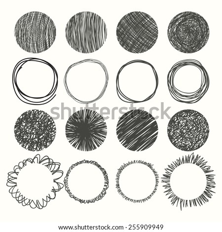 Set of hand drawn circles. Vector design elements. Vector illustration