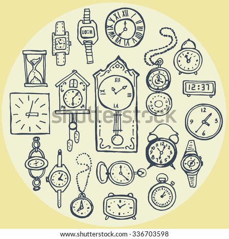 set of hand drawn clock doodles