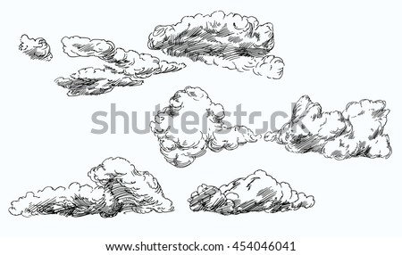 set of hand drawn clouds.