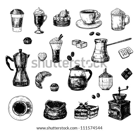 Set of hand drawn coffee related objects