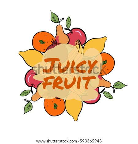 Set of hand drawn color fruit icons. Healthy organic diet. Vector illustration #593365943