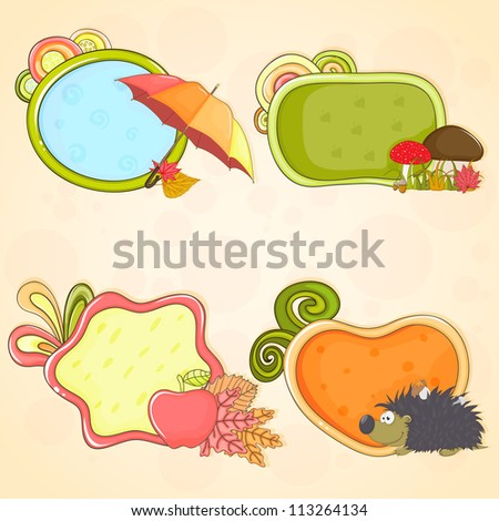 Set of hand - drawn colorful frames (speech boxes) on autumn theme