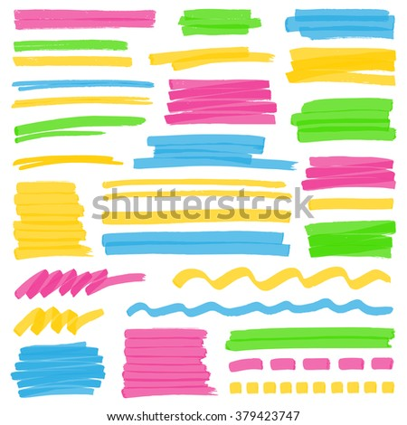 set of hand drawn colorful
