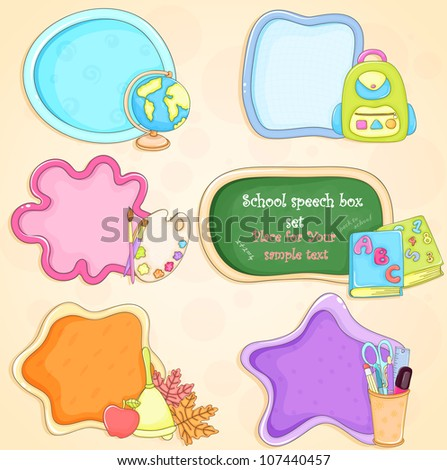 Set of hand - drawn colorful speech boxes on school theme - stock vector