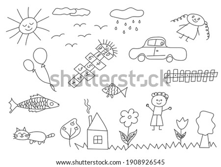 Set of hand drawn cute doodles. Happy children doodle. Doodle children drawing. Collection of elements in childish doodle style. Hand drawn vector illustration.