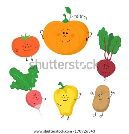 Set of hand-drawn cute funny  vegetables, without contour icons