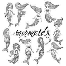 Set of hand drawn cute little mermaids. Doodle cartoon vector illustration isolated on white background.