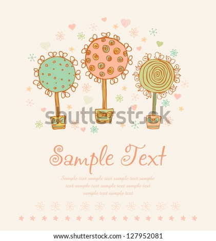 Set of hand drawn cute ornamental trees with flowers and hearts. Template for design greeting cards, wedding invitations with illustration and place for your text
