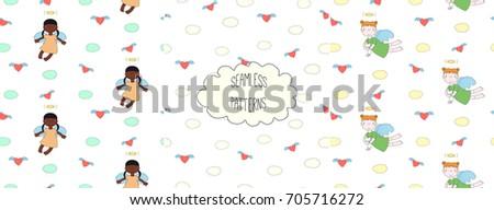 set of hand drawn cute seamless