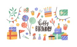 Set of hand drawn decoration with inscription Happy Birthday vector flat illustration. Collection of cone hat, garland flag, present boxes and balloons isolated. Festive objects with design elements