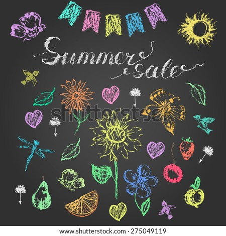 Set of hand drawn design elements and  colored chalk lettering on blackboard. Summer sale, bird, flower, dragonfly, butterfly, sun, fruit, leaf, heart, flag for advertising or promotion design.