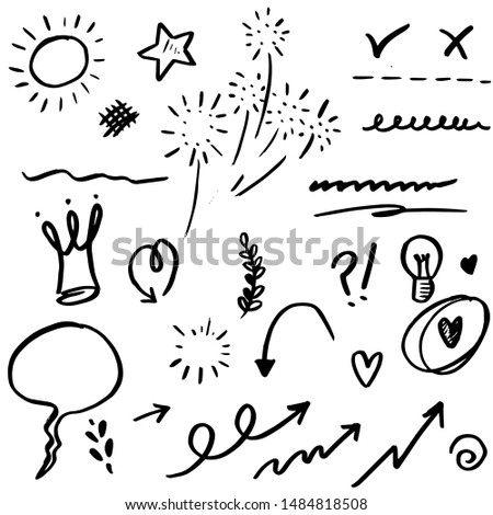 set of Hand drawn design elements. Arrow, heart, love, speech bubble, star, leaf, sun,light,check marks ,crown, king, queen,Swishes, swoops, emphasis ,swirl, heart, on white background.