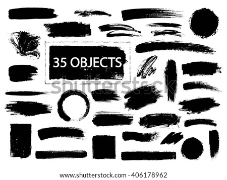 Set of hand drawn  design elements. Collection of black paint, ink brush strokes.  Artistic creative shapes. Vector illustration.