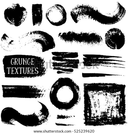 Set of hand drawn design elements. Vector collection of black ink abstract grunge textures. #525239620
