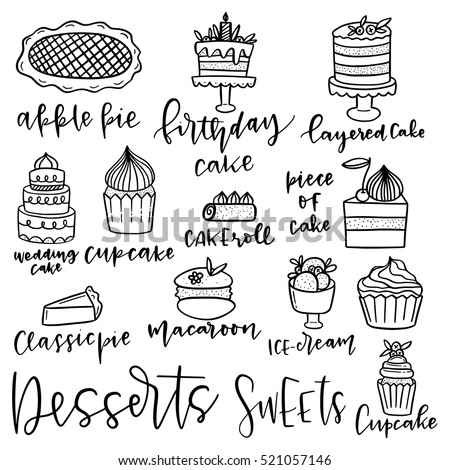 Set of hand drawn dessert vector icons. Design elements. Sweets and desserts.
