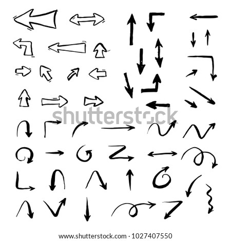 Set of hand drawn different arrow. Sketch style vector illustration. Arrow element drawn with a brush-pen. Isolated vector. Doodle line arrow for business infographic and icon.  #1027407550