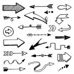 Set of hand drawn different decorative arrow. Sketch style vector illustration. Arrow element drawn with a brush-pen. Isolated vector. Doodle line curve arrow for business infographic and icon.