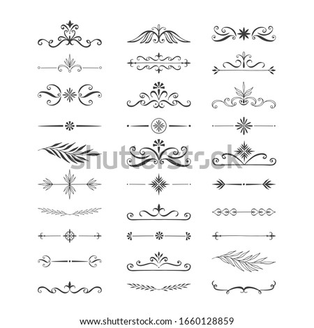 Set of hand drawn dividers, borders, frames, lines. Elegant vintage design elements. Vector isolated illustration. Foto stock ©