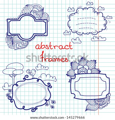 Set of hand drawn doodle abstract frames. Notebook doodles on squared paper background.