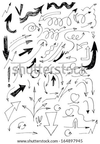 Set of Hand Drawn Doodle Arrows  #164897945