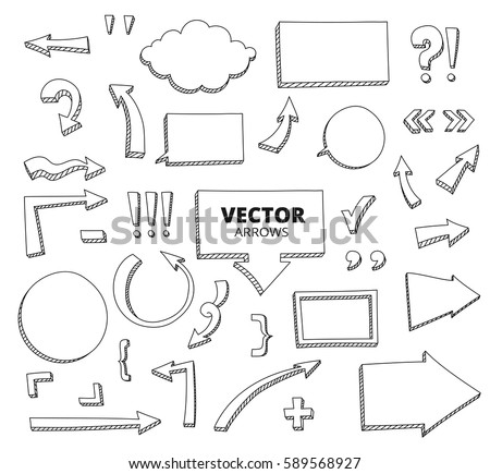 Set of hand drawn doodle arrows. Pen design elements isolated on white, vector illustration.