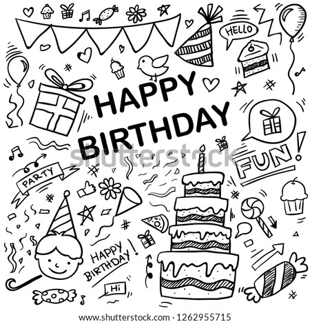 set of hand drawn doodle cartoon symbols on the birthday party. design holiday greeting card and invitation of birthday and holidays. cake, sweets, bunting flag, balloons, gift - vector illustration